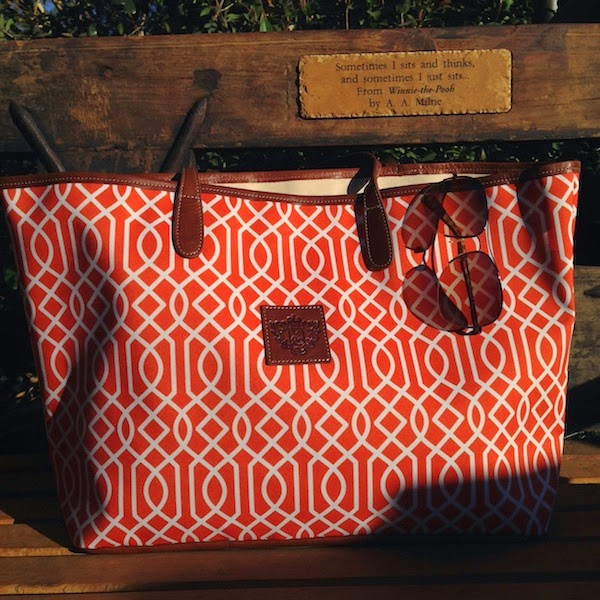 St. Anne tote Barrington Gifts Orange Trellis Print