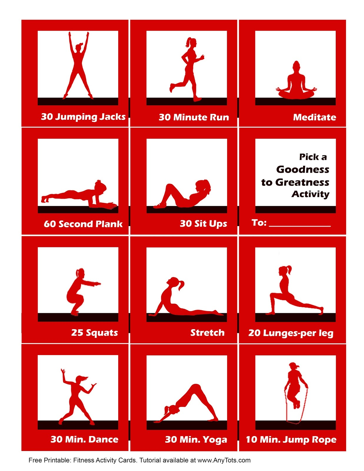Clean image throughout printable workout cards