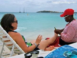 Talking to the Caribbean masseuse while getting a massage