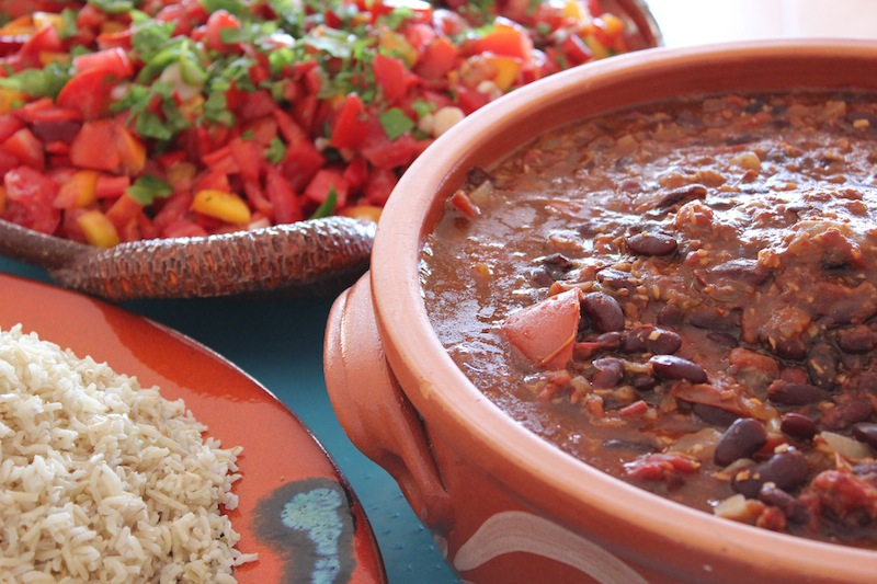Coconut and Kidney Bean Chilli with rice and peach salsa