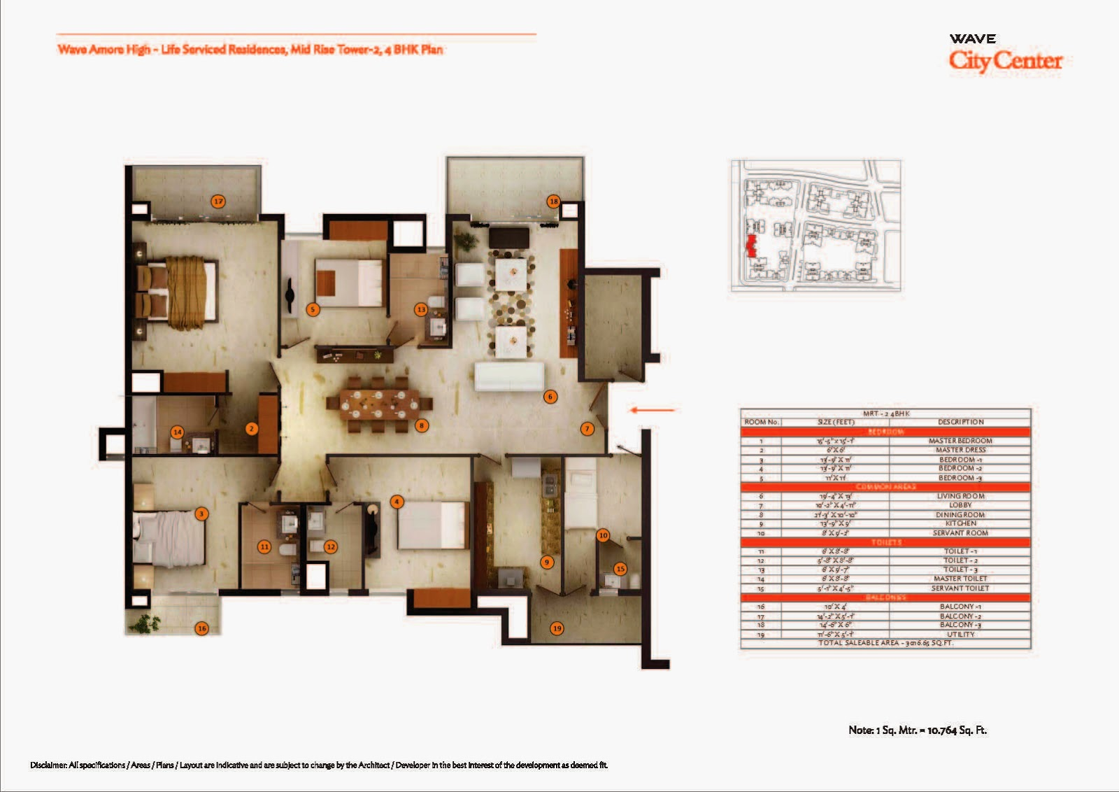 Mid Rise Tower 2,4 BHK Plan