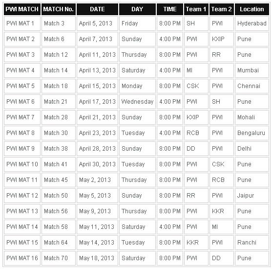 Ipl 2016 Schedule Clear Image | Calendar Template 2016