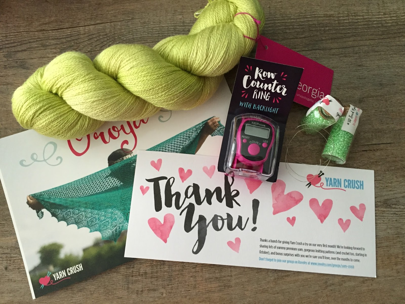 Yarn Crush Review - August 2015 - Canadian Knitting Subscription Box + PROMO