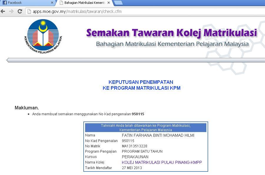 Fatin Hilmi 5 Hari Pertama Di Kolej Matrikulasi Pulau Pinang Kmpp