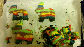 piñata cookies cut into burro shapes