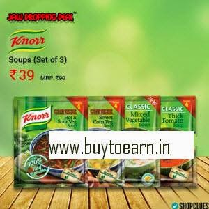 Shopclues: Knorr Soups Set of 3 and Rs. 1 cashback at Rs. 58