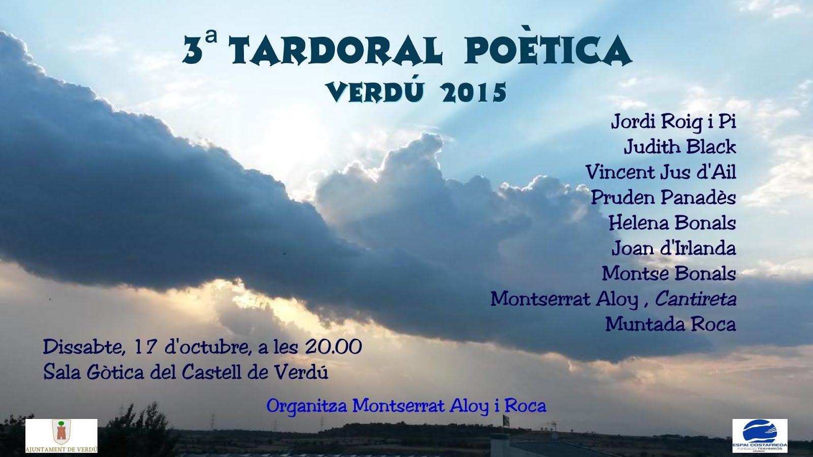 Tardoral poètica a Verdú 17 d'octubre 20h
