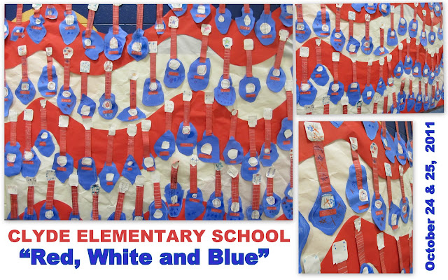 photo of: Elementary School Patriotic Music Flag of Guitars for Author Welcome
