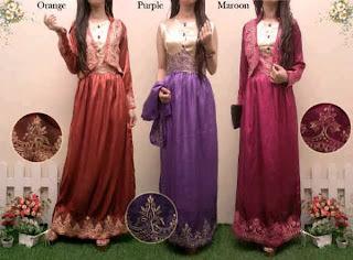 Mira Maxi Dress - Maxi berbahan Satin dengan Bolero Tempel Renda Prada Import