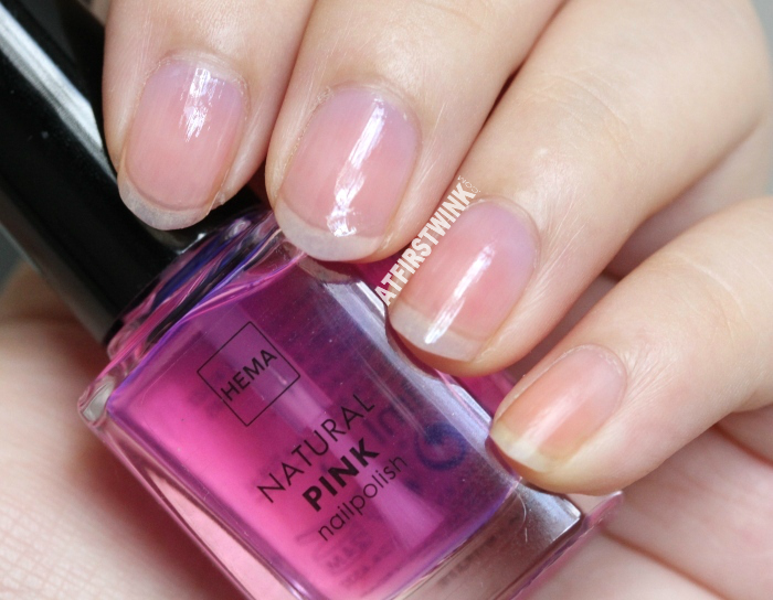 HEMA natural pink nail polish (Dior Nail Glow dupe) | Not on pinky nail