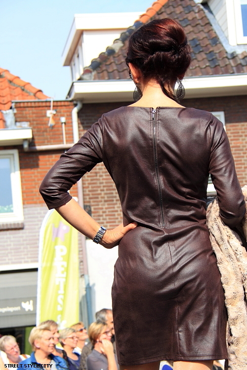 Street Style Leather Dress