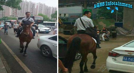 Seorang pria warga Wuhan, China, benar-benar jengah dengan kemacetan lalu-lintas di kota itu. Gara-gara macet saban hari dia terlambat ke tempat kerja. Dia pun mengistirahatkan mobilnya di garasi dan naik kuda setiap pergi ke tempat kerja.
