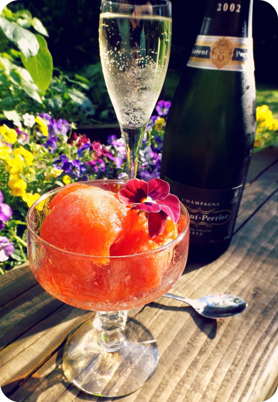 Strawberry Champagne Elderflower Sorbet