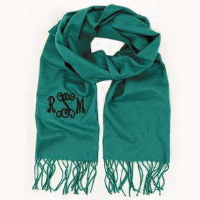 Jade Green Monogram Cashmere Feel Fringe Scarf from emilyrosejewellery