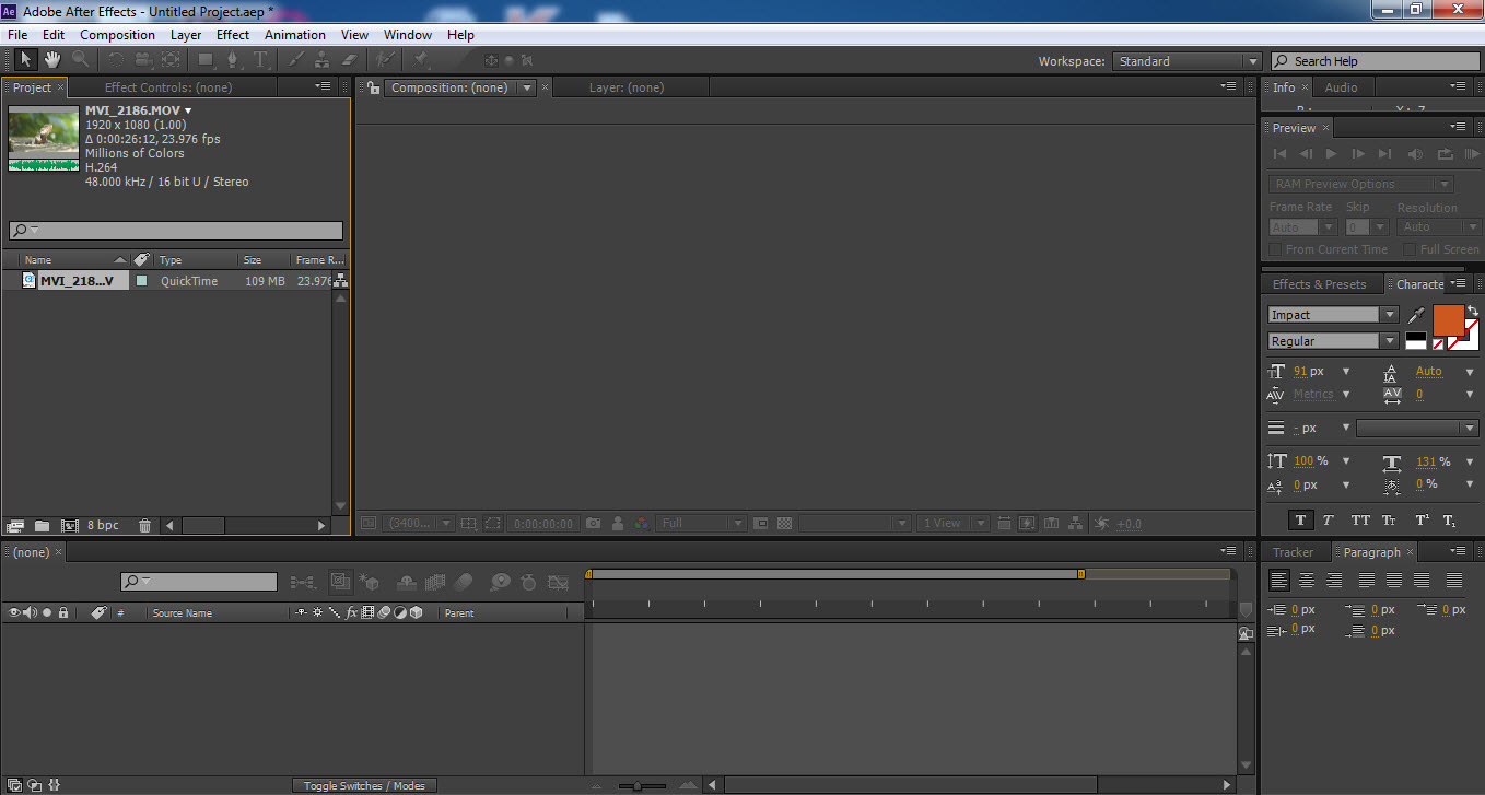After Effect CS6 Interface