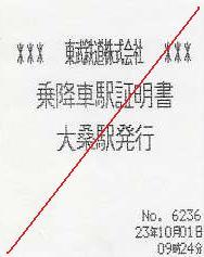 東武鉄道 乗降車駅証明書