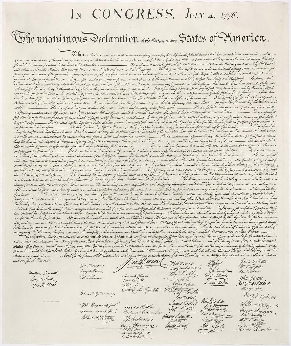 declaración independencia Estados Unidos