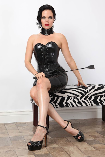 Leather clad domina thinking about her tea and he mum.