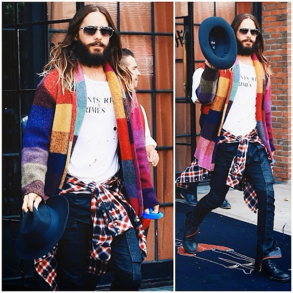 Jared Leto wears multi colour The Elder Statesman cashmere cardigan wrap in New York City August 2014