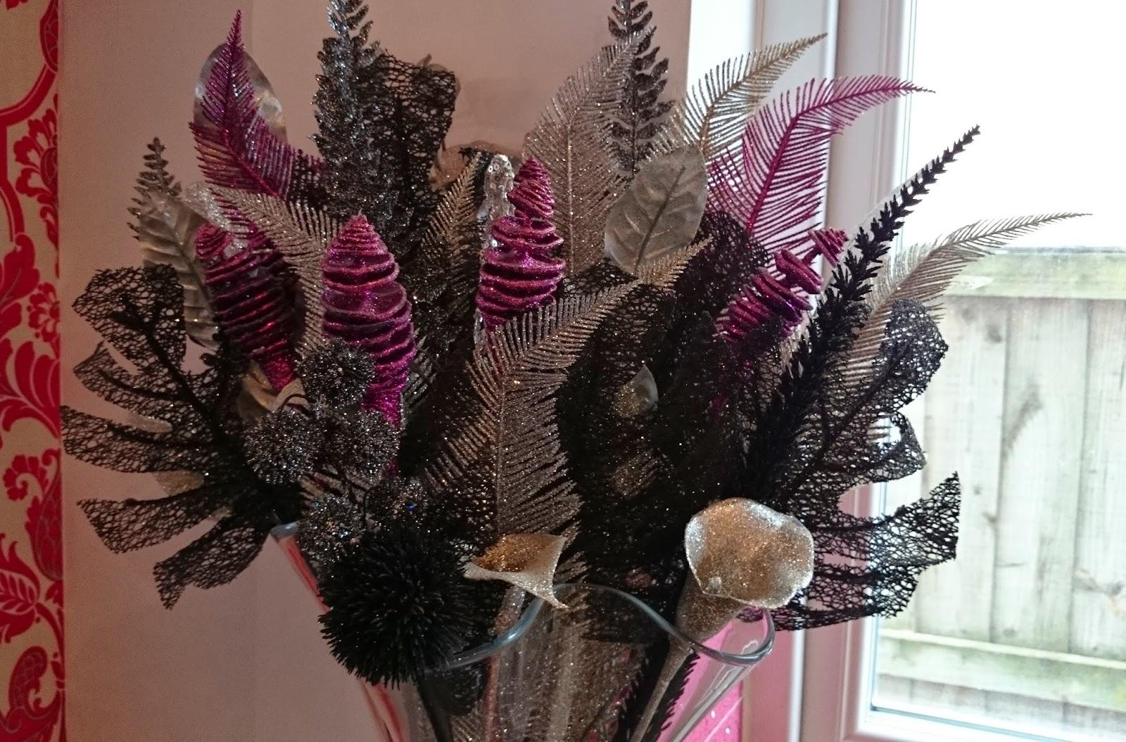 glitter sparkle flowers vase glass home decor ideas