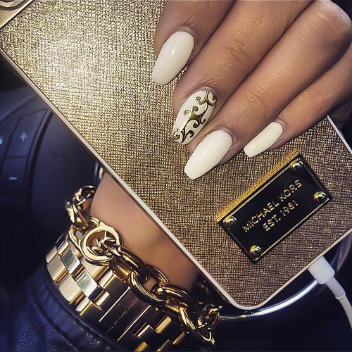 White Nails, Golden Clutch  | Nails