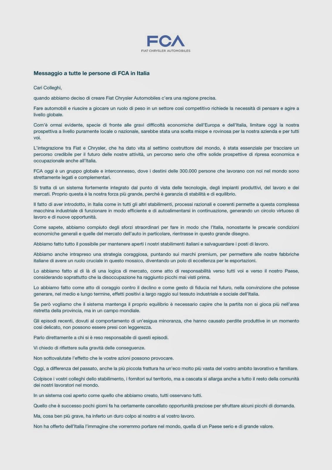 Lettera di Marchionne a tutte le persone di FCA in Italia