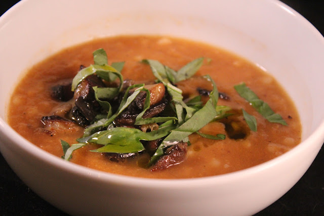 Burnt eggplant soup with Israeli couscous