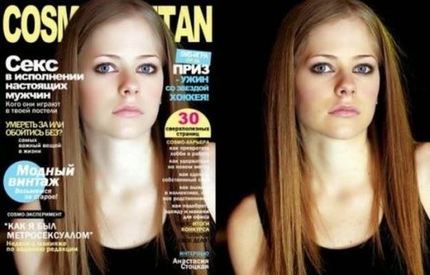 Avril Lavigne antes y despues photoshop