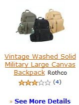 Vintage Washed Solid Military Large Canvas Backpack Rothco