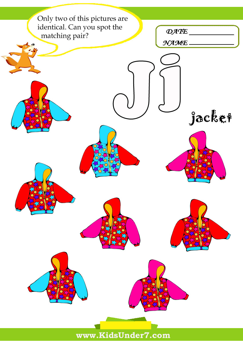Kids Under 7: Letter J Worksheets