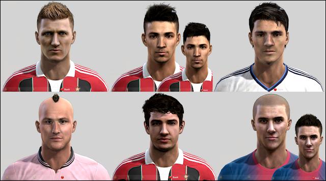 Abate, De Sciglio, Álvaro Morata, Morganella, Alexandre Pato e Cristian Tello Faces - PES 2013