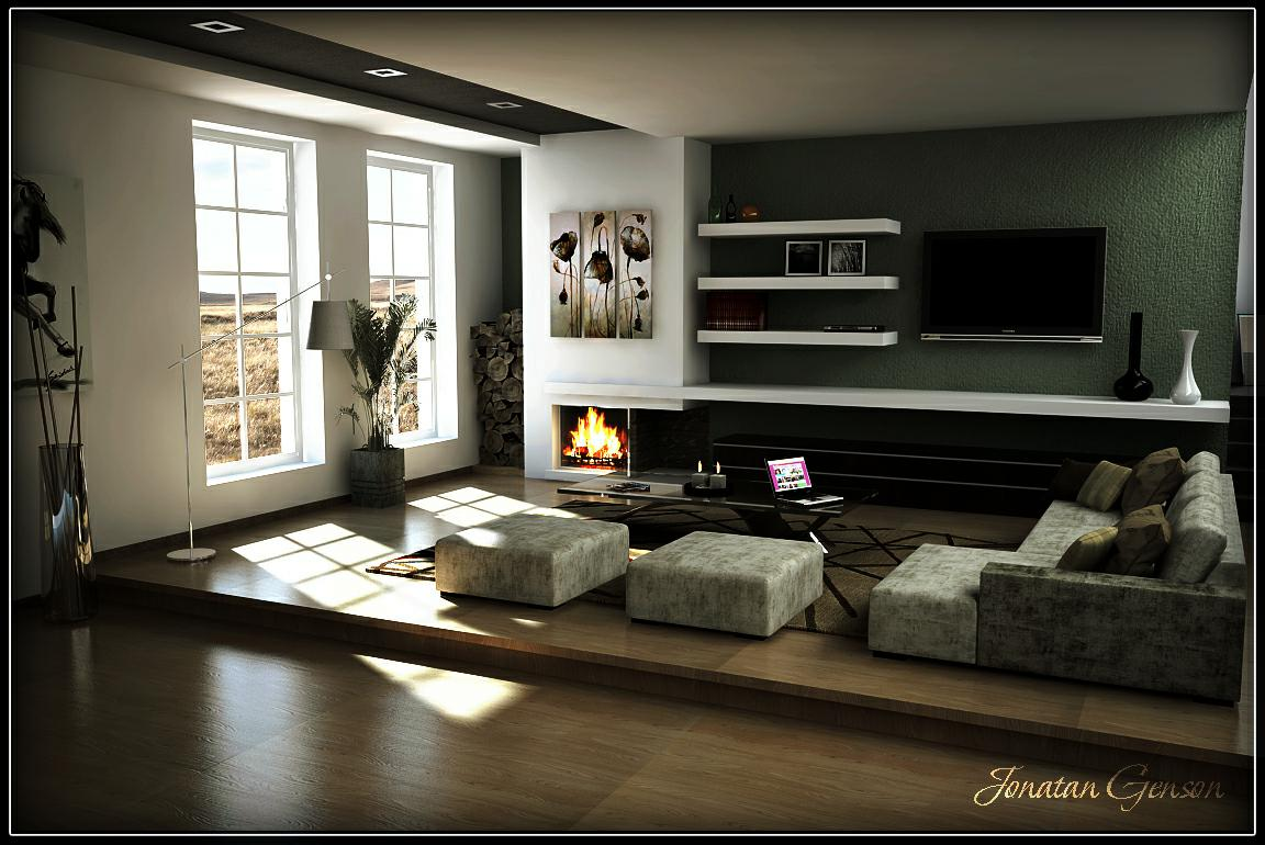 3d visi n estudio dise o de living render modificado for Disenos de living