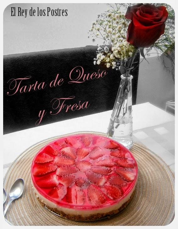 Tarta de Queso y Fresa sencilla