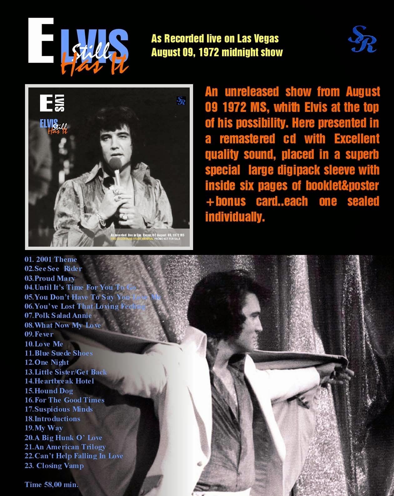 Elvis Presley 1972 Las Vegas Show Poster