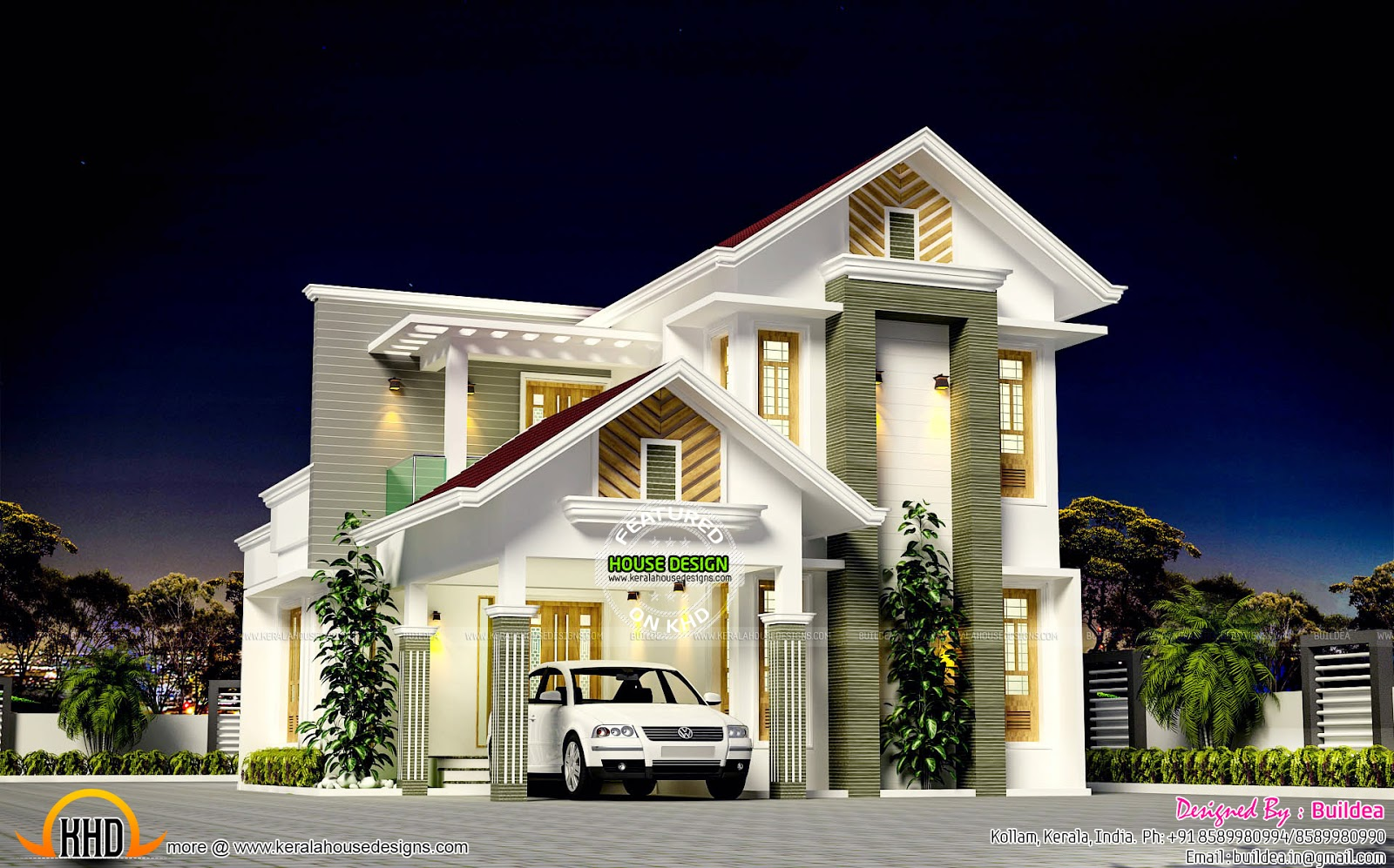 Beautiful 1796 sq ft modern mix roof kerala home kerala for Beautiful houses pictures in kerala
