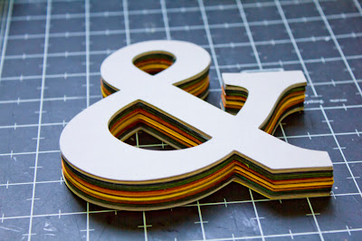 Tutorial for cardstock ampersand, finished layers of cardstock