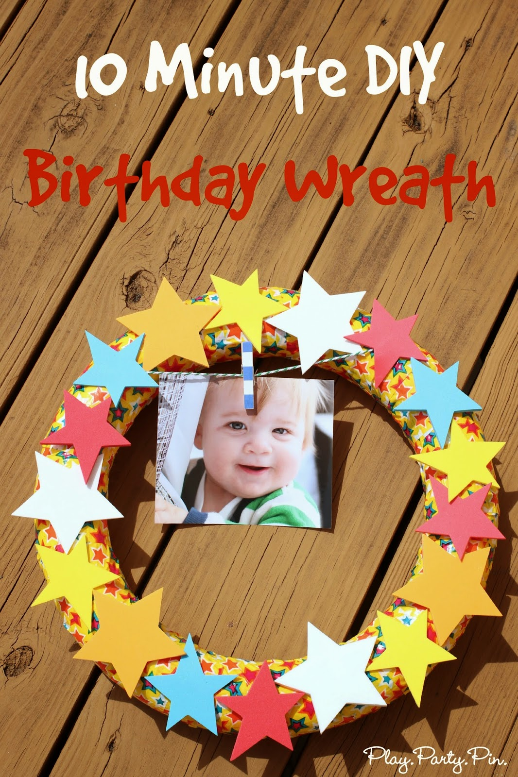 Easy DIY birthday wreath using duct tape and foam shapes