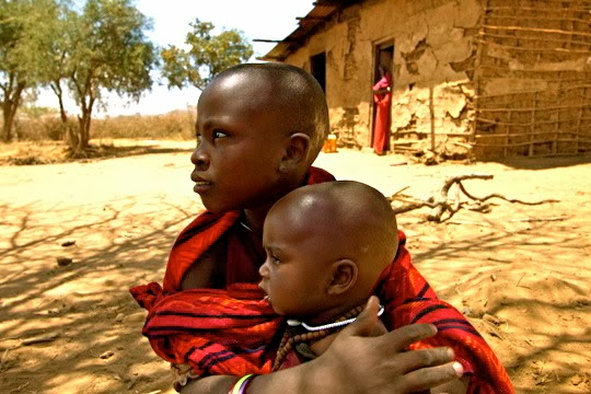 Children in a little Maasai village in Tanzania