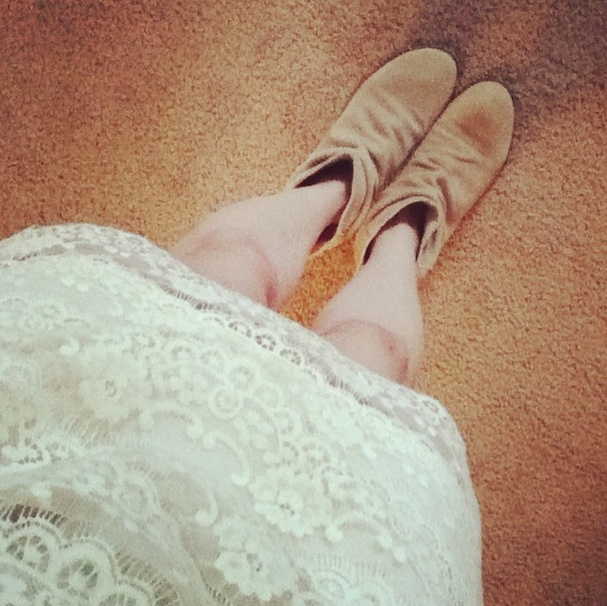 White lacy dress, beige booties