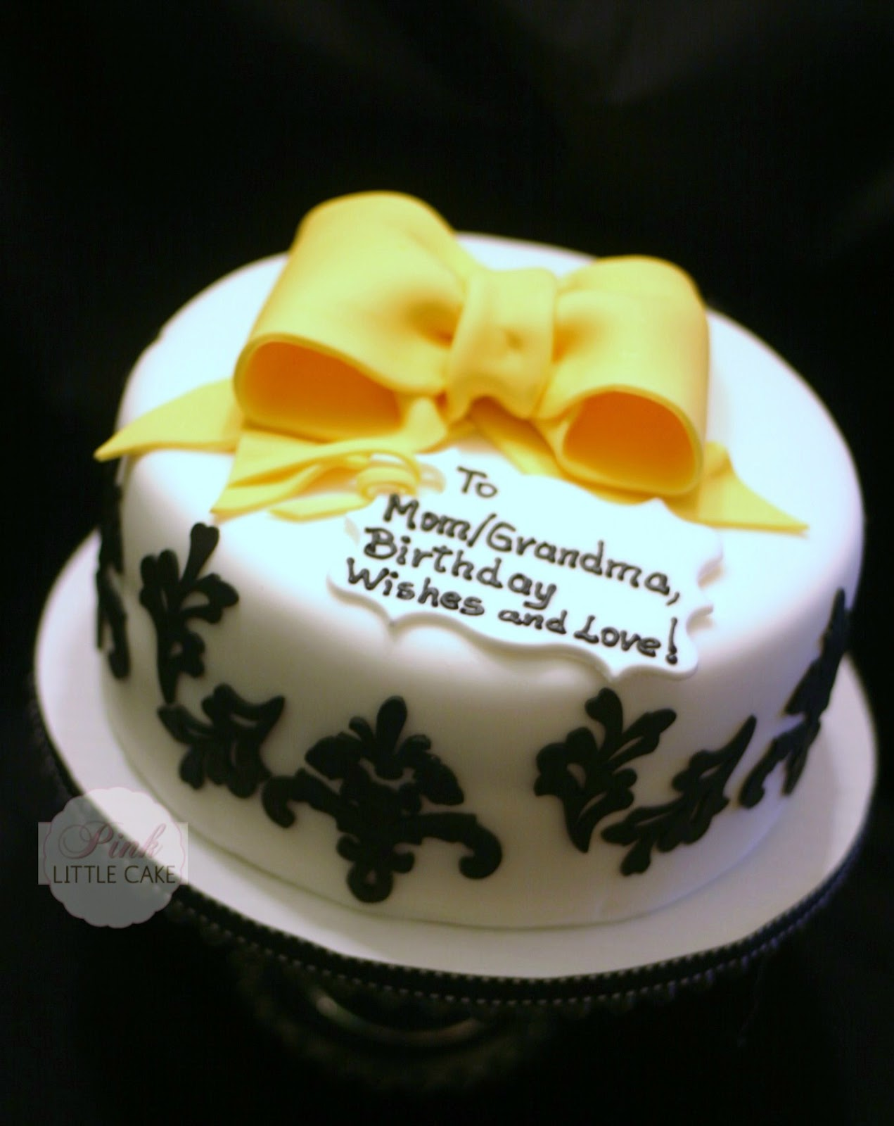 My Pink Little Cake Damask And Yellow Bow Birthday Cake