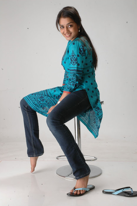 Nikitha in Blue kurti and Dark Blue Jeans for Women latest photos