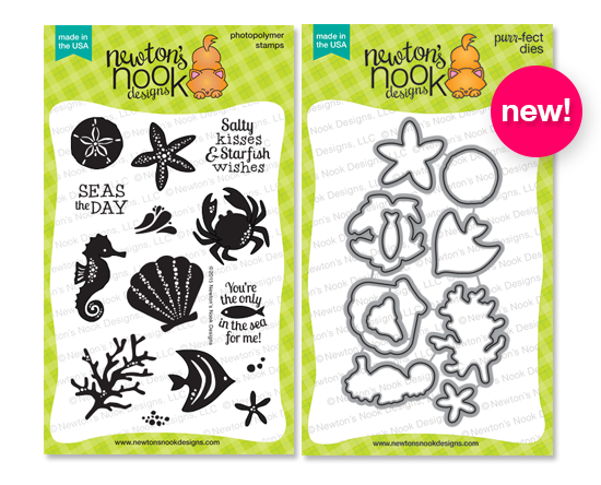 Tranquil Tides stamp set and Die set by Newton's Nook Designs #sea #dies #fish #seahorse #newtonsnook