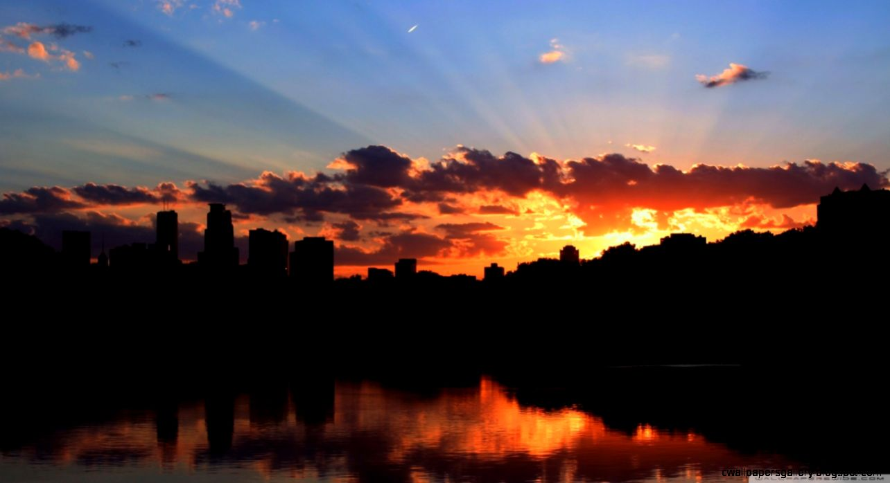 City Skyline Silhouette HD desktop wallpaper  High Definition