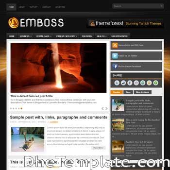 Emboss blog template. magazine blogger template style. magazine style template blogspot. 3 column footer blogspot template
