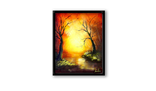How to create mysterious abstract landscape painting, naked trees, depth and shining light, 100