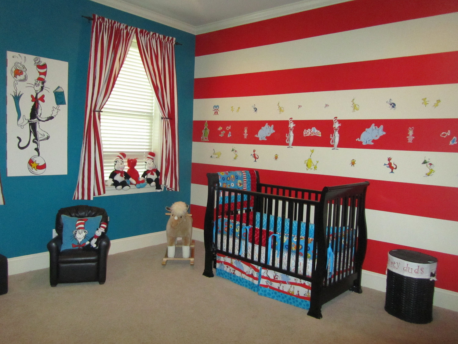 of the completed nursery look at this wonderful dr seuss room