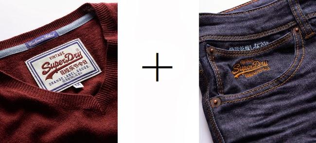 jersey burgundy y pantalón vaquero Superdry