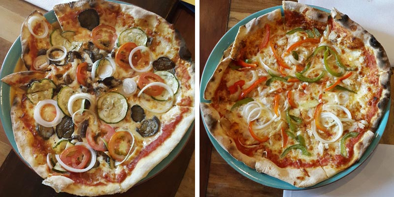 Grilled Vegetable pizza │Smoked Fish pizza
