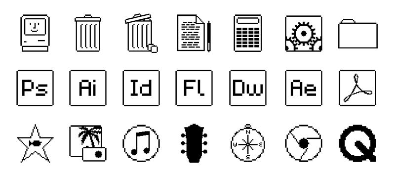初代Macintosh風なデザインの壁紙&アイコンセット | トブ iPhone