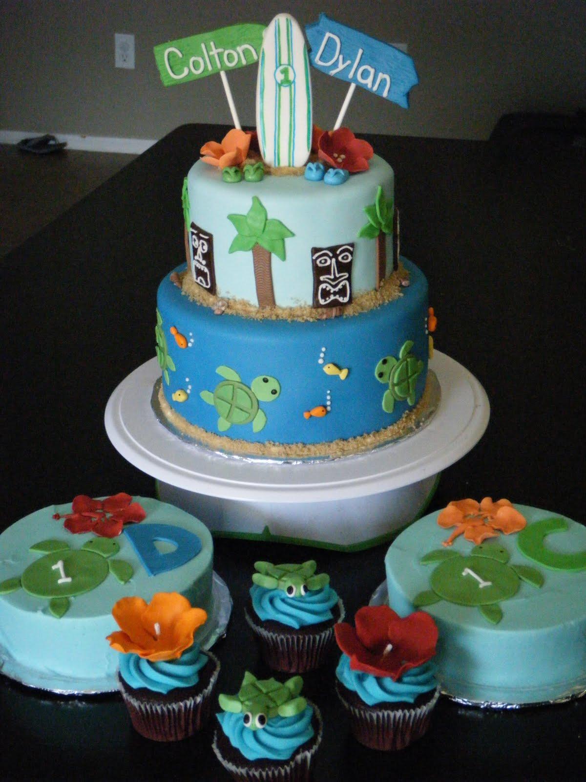 Cassys Cakes Hawaiian Luau Cake For Twins